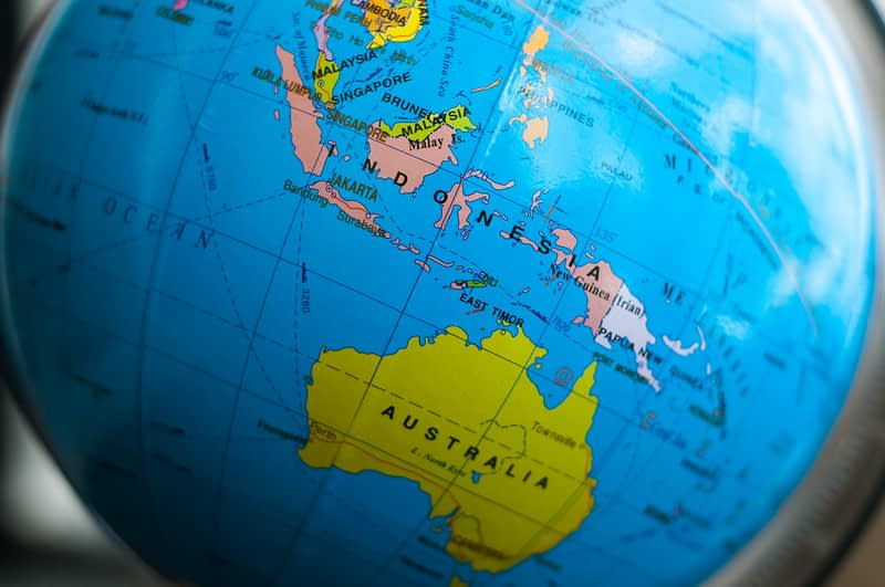 Indonesia and Australia on the globe map.